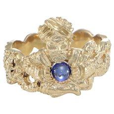 Fortune Teller Sapphire Ball Snake Band Ring 14k Yellow Gold Vintage Snake Genie