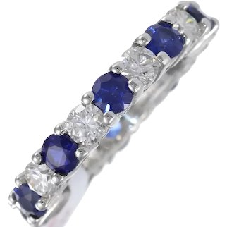 Tiffany & Co. Embrace Eternity Wedding Band Ring Sapphire Diamond PLAT 4.5CT 4MM