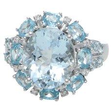 7CT Oval Aquamarine Blue Topaz Diamond Ring Cocktail 14k White Gold