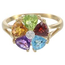 Amethyst Citrine Peridot Garnet Topaz Diamond Ring 14k Yellow Gold