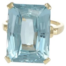 17CTW Emerald Aqua Blue Spinel Cocktail Ring 14k Yellow Gold Women Vintage
