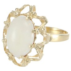 Fire Opal Cocktail Ring Womens 14k Yellow Gold Ring
