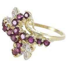 Ruby Diamond Cluster Ring Flower 14k Yellow Gold