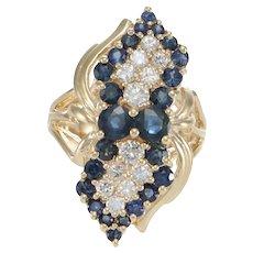 1.71CTW Sapphire Diamond Cluster Ring 14k Yellow Gold