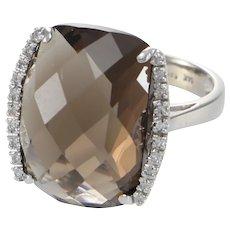 16.1CTW Smoky Quartz Diamond Cocktail Ring 14k White Gold