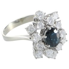 2.16CTW Oval Blue Sapphire Diamond Ring 14k White Gold Cluster