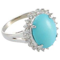 Turquoise 0.66ct Diamond Cocktail Ring 18k White Gold