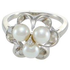 Pearl Diamond Cocktail Ring 14k White Gold