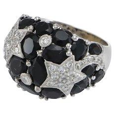 Black Onyx Diamond Pave Shooting Star Dome Band 18k White Gold Tuxedo Ring .55ct