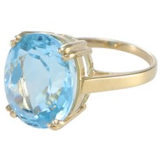 8.21CTW Oval Aqua Blue Topaz Cocktail Ring 14k Yellow Gold