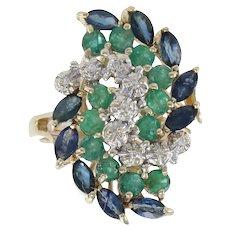 Emerald Sapphire Diamond Ring Leaf Cluster 14k Yellow Gold