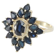 Starburst Oval Pear Sapphire Cluster Ring 14k Yellow Gold
