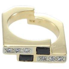 Baguette Cut Onyx Diamond Ring Modernist Bypass 18k Yellow Gold Band