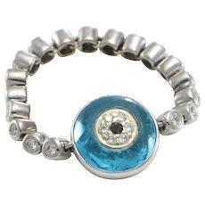 Evil Eye Onyx Diamond Pave Modernist Flexi Band 14k White Gold Ring 0.50ctw