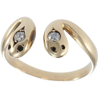 Old Mine Cut Diamond Two Snake Head Open Band Ring 14k Yellow Gold