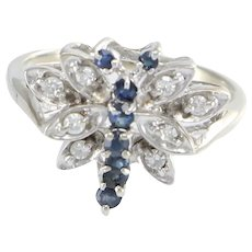 Dragon Fly Ring Sapphire Diamond Cluster Women's 14k White Gold 0.30ctw