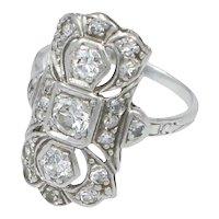 Old European Cut Diamonds Platinum 1920s Antique Art Deco Cocktail Ring
