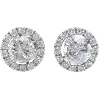 Halo Diamond Day Night Stud Earrings 18k 14k White Gold
