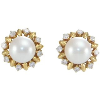 Mikimoto Akoya Pearl Diamond Day Night Halo Stud Earrings 18k Gold Sunburst Box