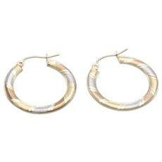 Medium Size Plaid Hoop Earrings 14k Yellow White Gold Vintage Estate Comfortable