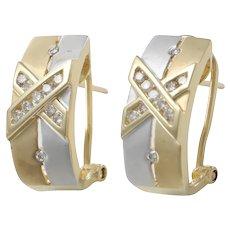 Wide Half Hoop Huggie Earrings X Diamond Clip On Satin 14k Yellow White Gold