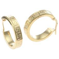 Meander Greek Key Design Hoop Earrings Solid 14k Yellow Gold