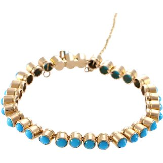 Turquoise Bracelet Fancy Bullet Chain Link 14k Yellow Gold