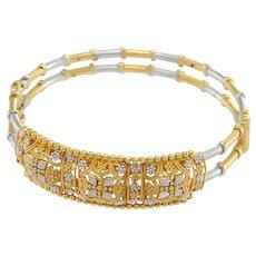 Bamboo Woven 22k Yellow White Gold Modernist Style Bracelet