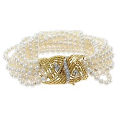 Diamond 10strand 4mm Cultured Pearl Bracelet 18k Yellow Gold