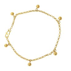 """Ball Charm Classic Cable Link Anklet 24k Yellow Gold 9""""Long Bracelet 5mm"""