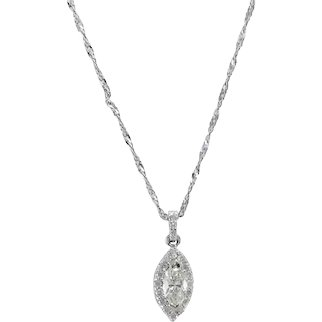 Marquise Diamond Halo Pendant 14k White Gold Cuban Curb Chain Necklace