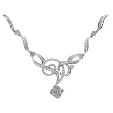 Cluster Diamond Clover Pendant Necklace 14k White Gold 1.20CTW