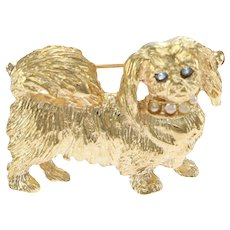 Pekingese Dog Brooch Pin Sapphire Seed Pearl Solid 14k Yellow Gold