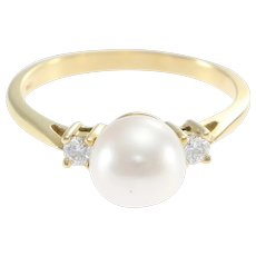 Tiffany & Co. Hardware Pearl Diamond Cocktail Ring 18k Yellow Gold 7.5 8mm 0.2ct