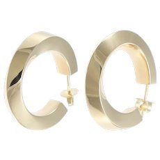 Tiffany & Co. Large Hoop Twist Huggie Earrings 14k Yellow Gold 6.5mm Wide