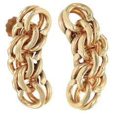 Tiffany & Co. Curb Double Chain Link Drop Earrings 14k Yellow Gold 26mm Vintage