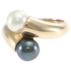 Tiffany & Co. Hardware Tahitian and Cultured Pearl ByPass Cocktail Ring 14k Gold Yellow