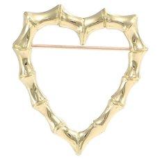 Tiffany & Co. Bamboo Open Heart Brooch Pin 18k Yellow Gold 28x32mm 5.5g