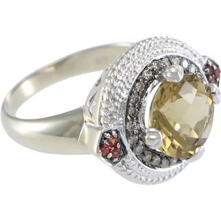 Levian Citrine Chocolate Diamond Rhodolite Garnet Ring 14k White Gold