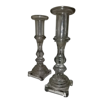 Pair of New England blown and molded candlesticks, c. 1840