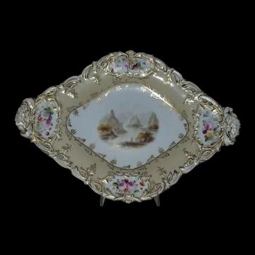Coalport handpainted dessert dish, c. 1825-35.