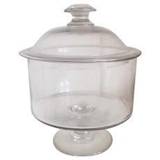 Scarce American blown flint glass covered bowl on pedestal