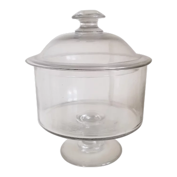 Scarce American blown flint glass covered bowl on pedestal