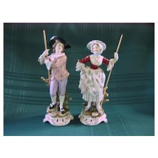 Volkstedt Porcelain Colonial Man and Woman Figurines
