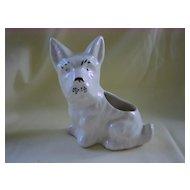 Vintage White Scottish Terrier Dog Figurine Planter