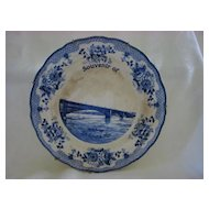 Souvenir Transferware Flow Blue Plate  St. Louis Eads Bridge