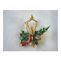 Holiday Christmas Pin with Lantern and Holly Leaves