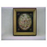 1800's Linen Canvas Needlework Stitchery Picture/Thread Painting/ Embroidered Tapestry  Couple in Country Scenery