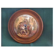 """Framed Victorian English Prattware 1800's Pot Lid """" The Wolf And The Lamb"""""""