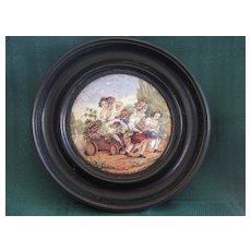 "Framed Victorian English Pot Lid "" Children Of Flora"""